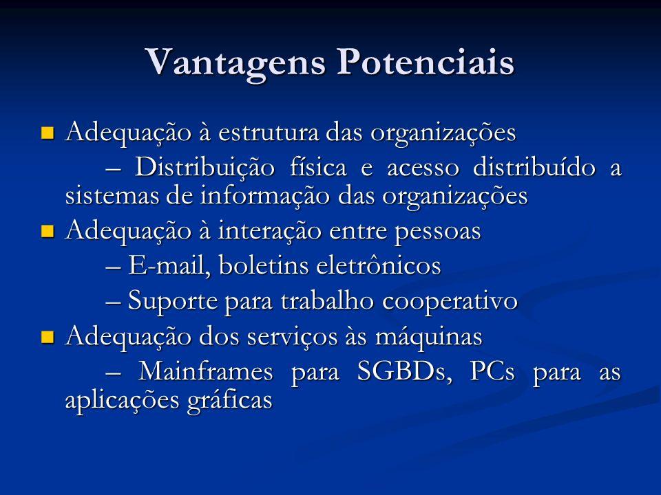Vantagens Potenciais Adequação à estrutura das organizações Adequação à estrutura das organizações – Distribuição física e acesso distribuído a sistem