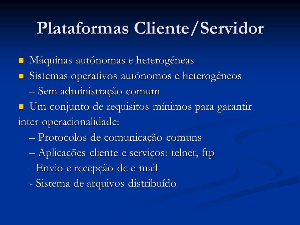 Plataformas Cliente/Servidor Máquinas autónomas e heterogéneas Máquinas autónomas e heterogéneas Sistemas operativos autónomos e heterogéneos Sistemas