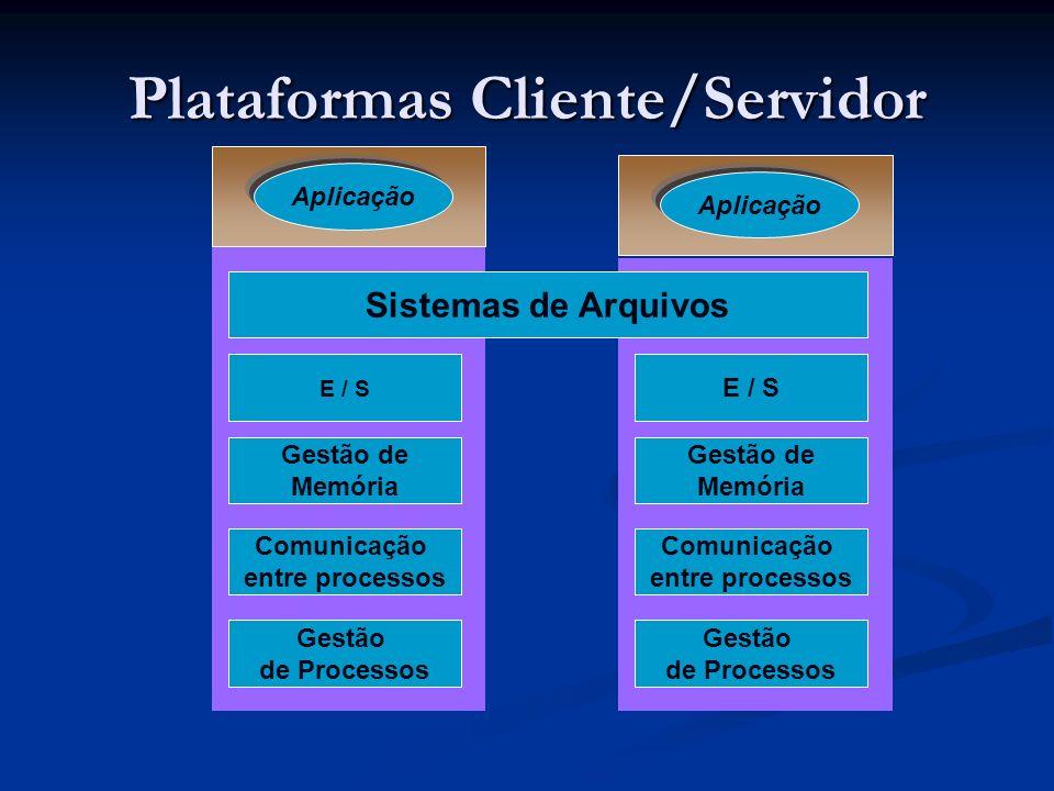 Plataformas Cliente/Servidor Aplicação Sistemas de Arquivos E / S Gestão de Memória Comunicação entre processos Gestão de Processos E / S Gestão de Me