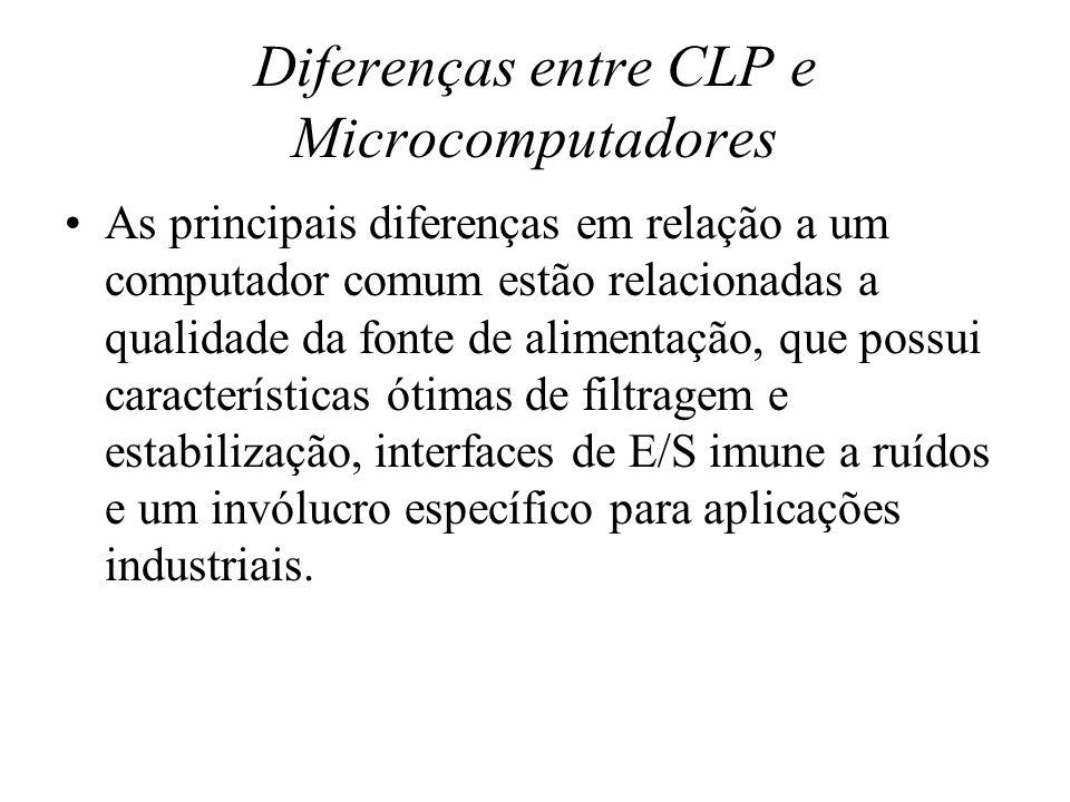Diferenças entre CLP e Microcomputadores As principais diferenças em relação a um computador comum estão relacionadas a qualidade da fonte de alimenta