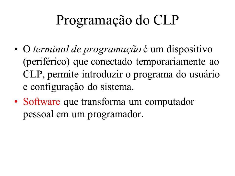 Programação do CLP O terminal de programação é um dispositivo (periférico) que conectado temporariamente ao CLP, permite introduzir o programa do usuá