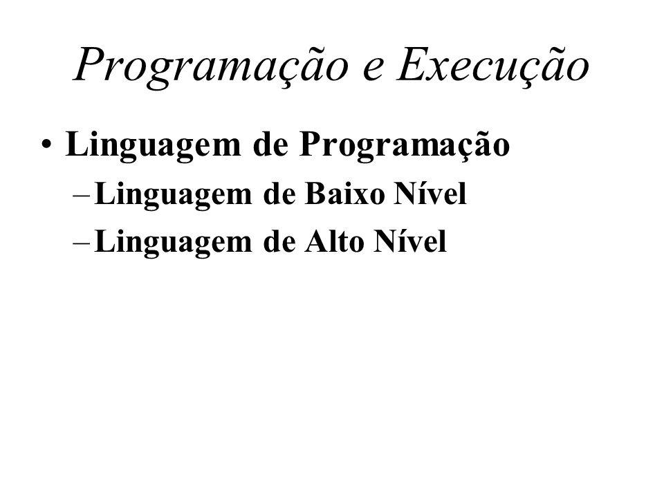 Programação e Execução Linguagem de Programação –Linguagem de Baixo Nível –Linguagem de Alto Nível