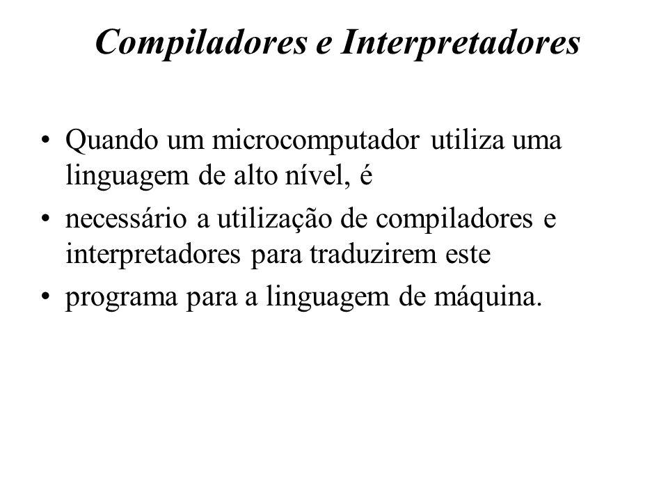 Compiladores e Interpretadores Quando um microcomputador utiliza uma linguagem de alto nível, é necessário a utilização de compiladores e interpretado