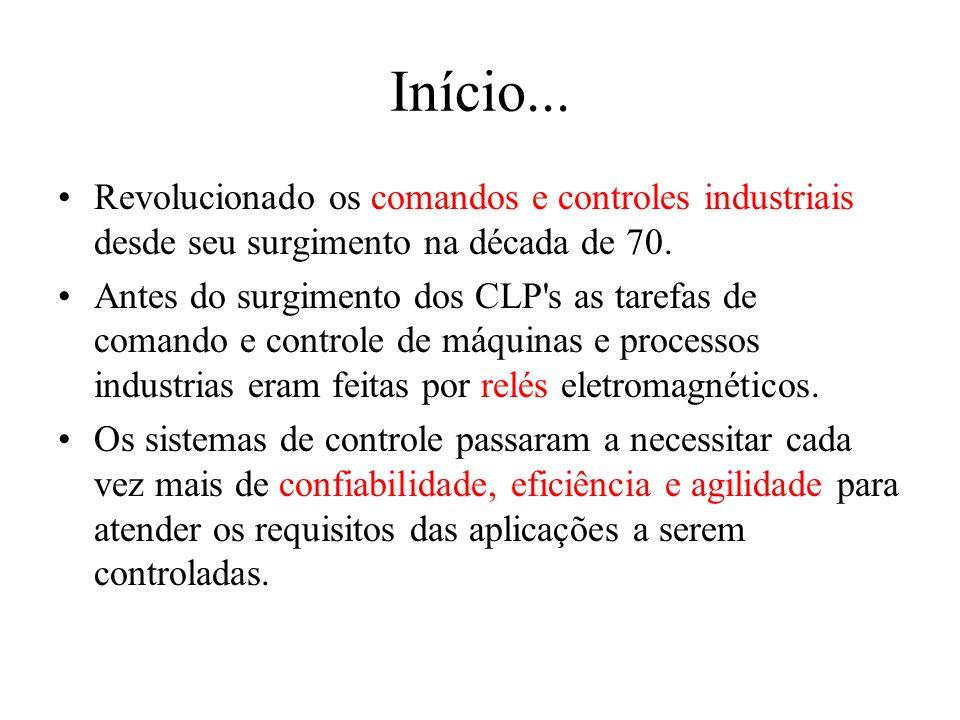Início... Revolucionado os comandos e controles industriais desde seu surgimento na década de 70. Antes do surgimento dos CLP's as tarefas de comando