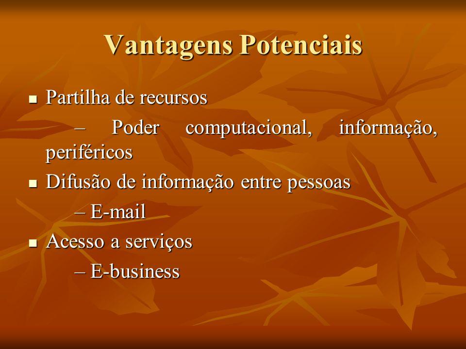 Vantagens Potenciais Partilha de recursos Partilha de recursos – Poder computacional, informação, periféricos Difusão de informação entre pessoas Difu