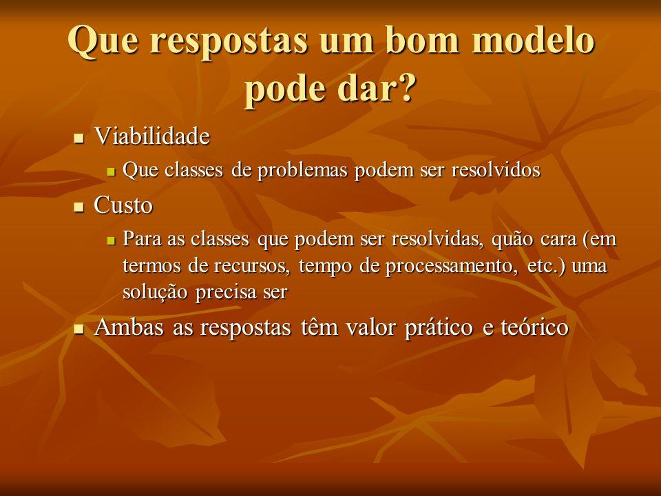 Que respostas um bom modelo pode dar? Viabilidade Viabilidade Que classes de problemas podem ser resolvidos Que classes de problemas podem ser resolvi
