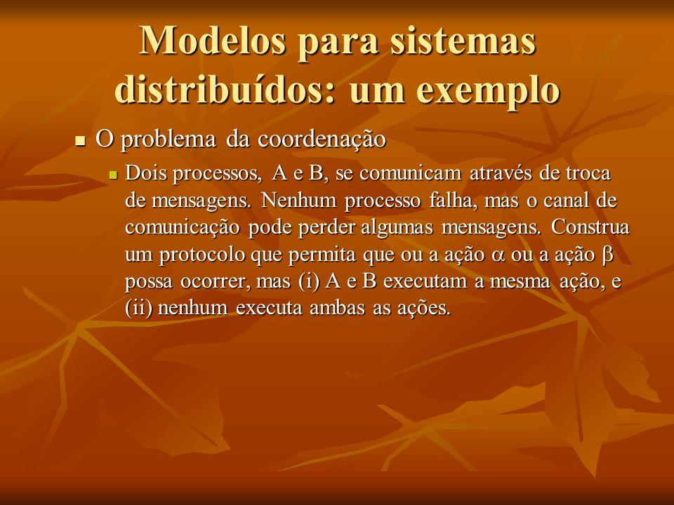 Modelos para sistemas distribuídos: um exemplo O problema da coordenação O problema da coordenação Dois processos, A e B, se comunicam através de troc