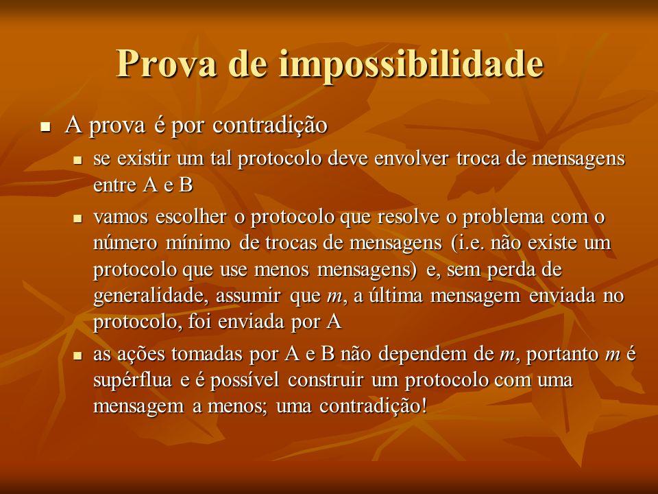 Prova de impossibilidade A prova é por contradição A prova é por contradição se existir um tal protocolo deve envolver troca de mensagens entre A e B