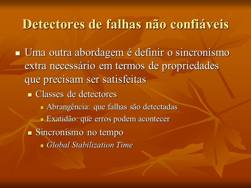 Detectores de falhas não confiáveis Uma outra abordagem é definir o sincronismo extra necessário em termos de propriedades que precisam ser satisfeita