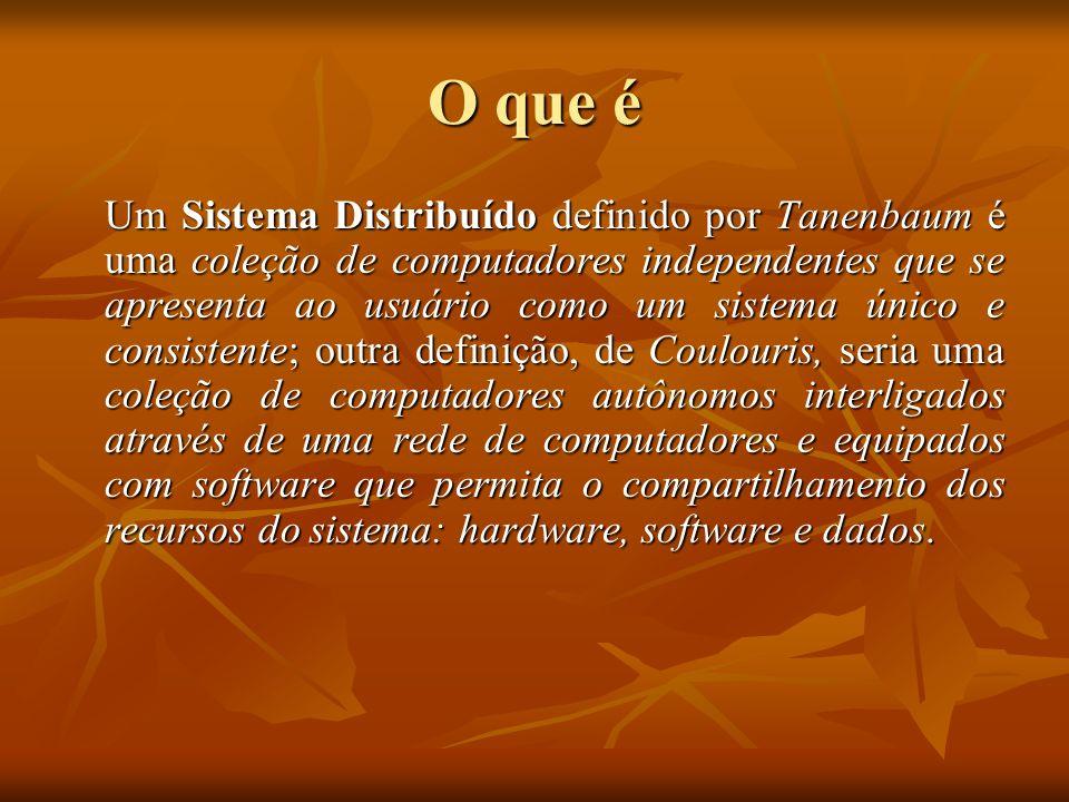 O que é Um Sistema Distribuído definido por Tanenbaum é uma coleção de computadores independentes que se apresenta ao usuário como um sistema único e