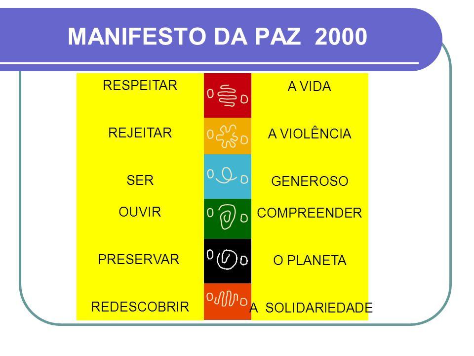 RESPEITAR REJEITAR SER OUVIR PRESERVAR REDESCOBRIR A VIDA A VIOLÊNCIA GENEROSO COMPREENDER O PLANETA A SOLIDARIEDADE MANIFESTO DA PAZ 2000