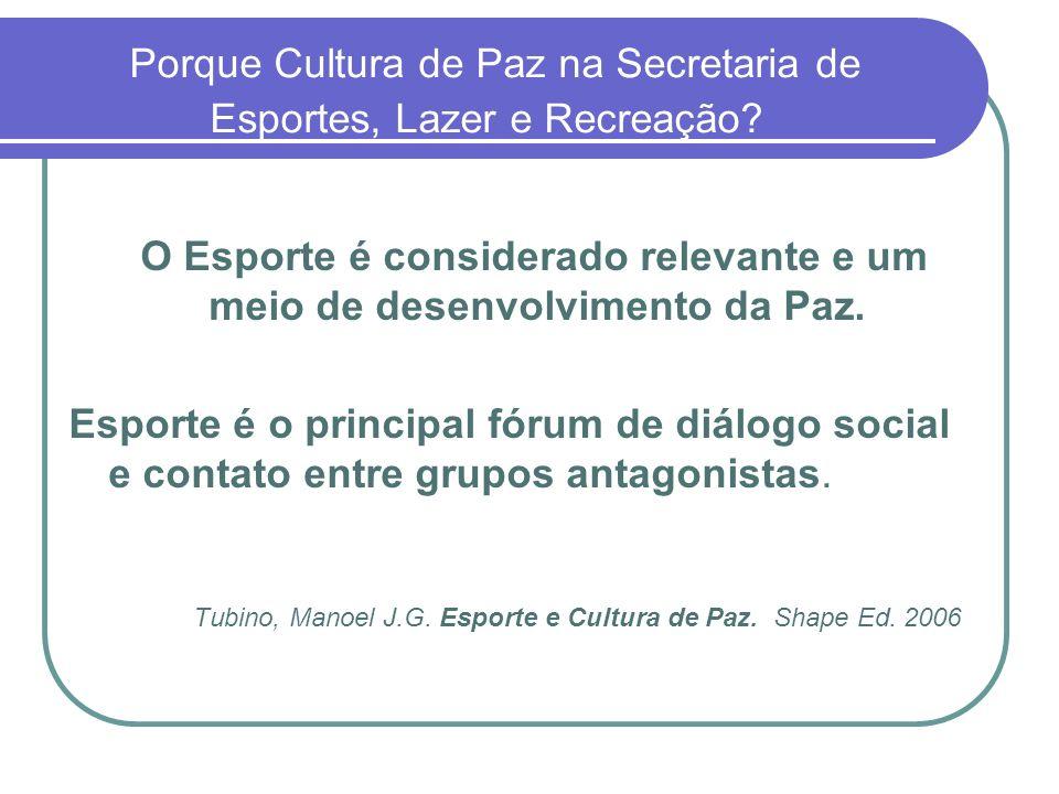 Porque Cultura de Paz na Secretaria de Esportes, Lazer e Recreação? O Esporte é considerado relevante e um meio de desenvolvimento da Paz. Esporte é o