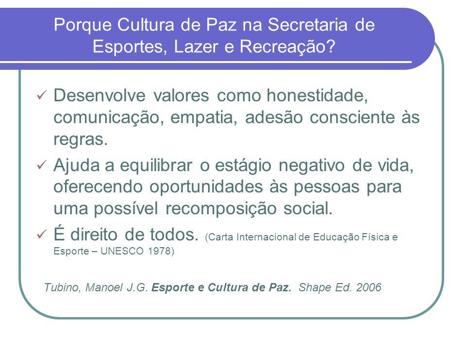 Porque Cultura de Paz na Secretaria de Esportes, Lazer e Recreação? Desenvolve valores como honestidade, comunicação, empatia, adesão consciente às re