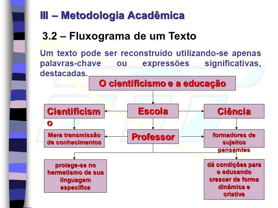 3.2 – Fluxograma de um Texto Um texto pode ser reconstruído utilizando-se apenas palavras-chave ou expressões significativas, destacadas. O cientifici