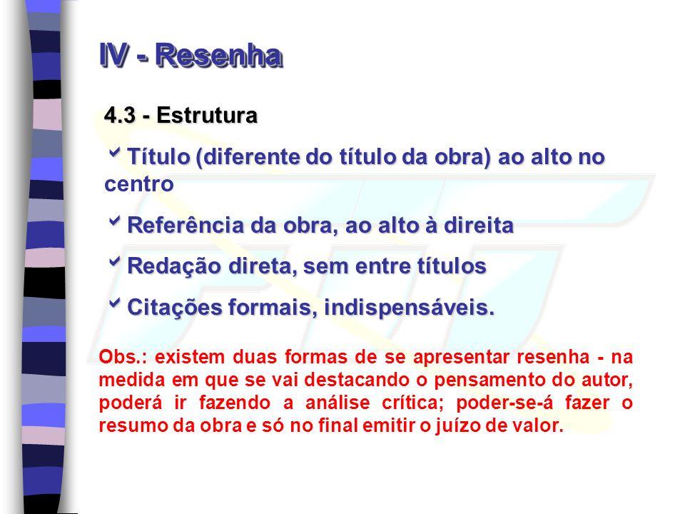 IV - Resenha 4.3 - Estrutura Título (diferente do título da obra) ao alto no Título (diferente do título da obra) ao alto no centro Referência da obra