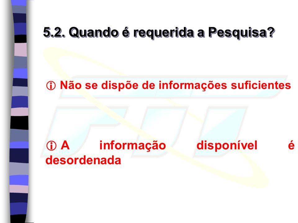 5.2. Quando é requerida a Pesquisa? Não se dispõe de informações suficientes A informação disponível é desordenada