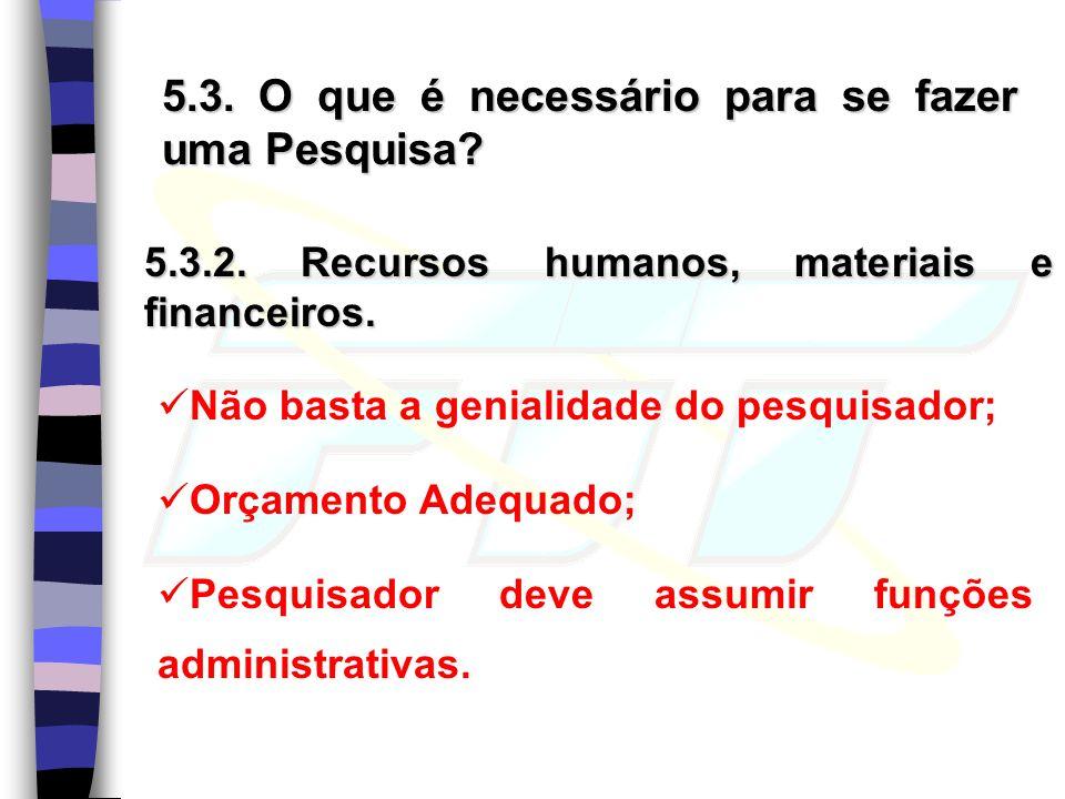 5.3. O que é necessário para se fazer uma Pesquisa? 5.3.2. Recursos humanos, materiais e financeiros. Não basta a genialidade do pesquisador; Orçament
