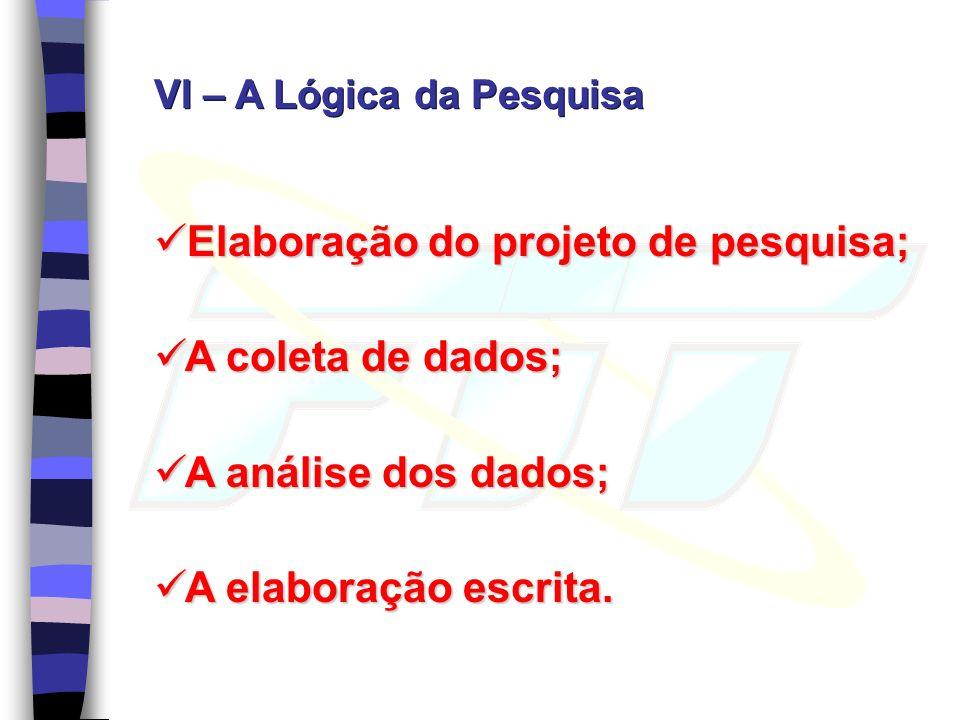 VI – A Lógica da Pesquisa Elaboração do projeto de pesquisa; Elaboração do projeto de pesquisa; A coleta de dados; A coleta de dados; A análise dos da