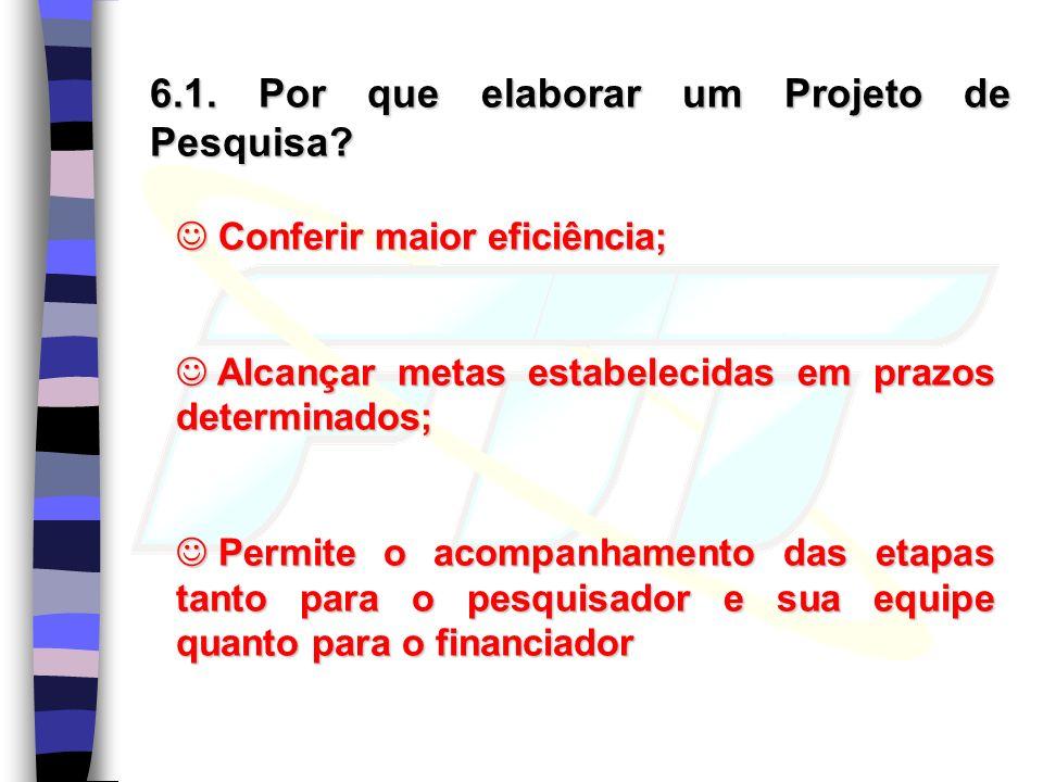 6.1.Por que elaborar um Projeto de Pesquisa.