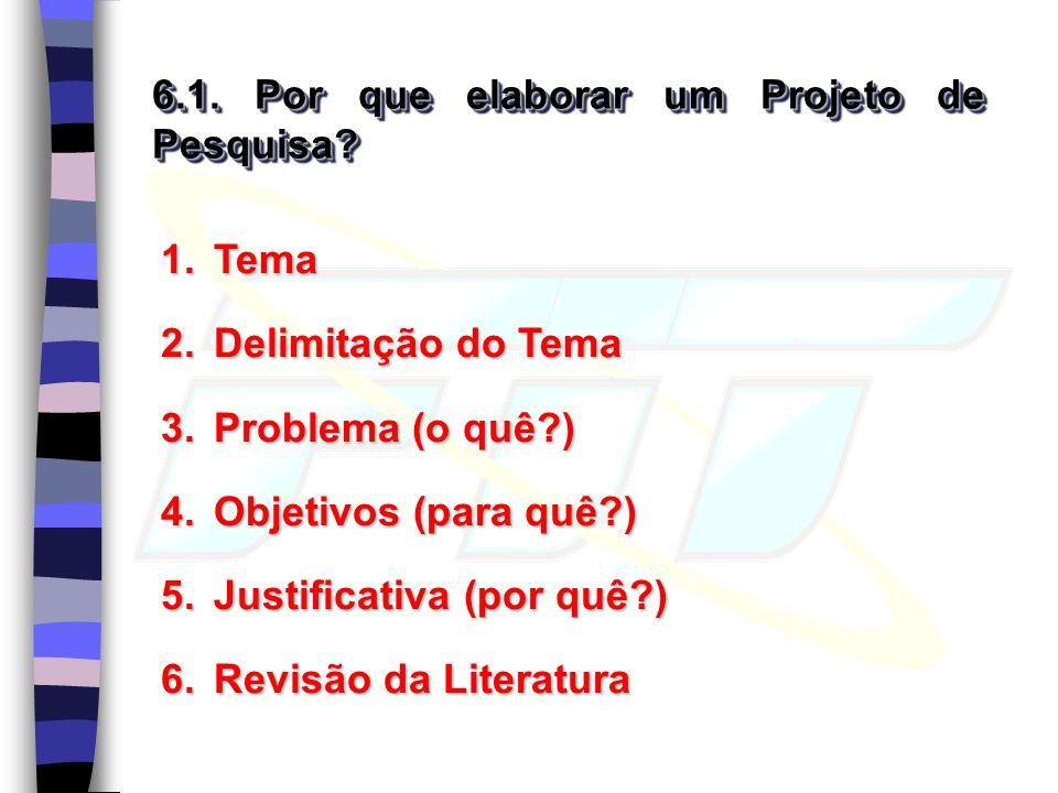 6.1. Por que elaborar um Projeto de Pesquisa? 1.Tema 2.Delimitação do Tema 3.Problema (o quê?) 4.Objetivos (para quê?) 5.Justificativa (por quê?) 6.Re