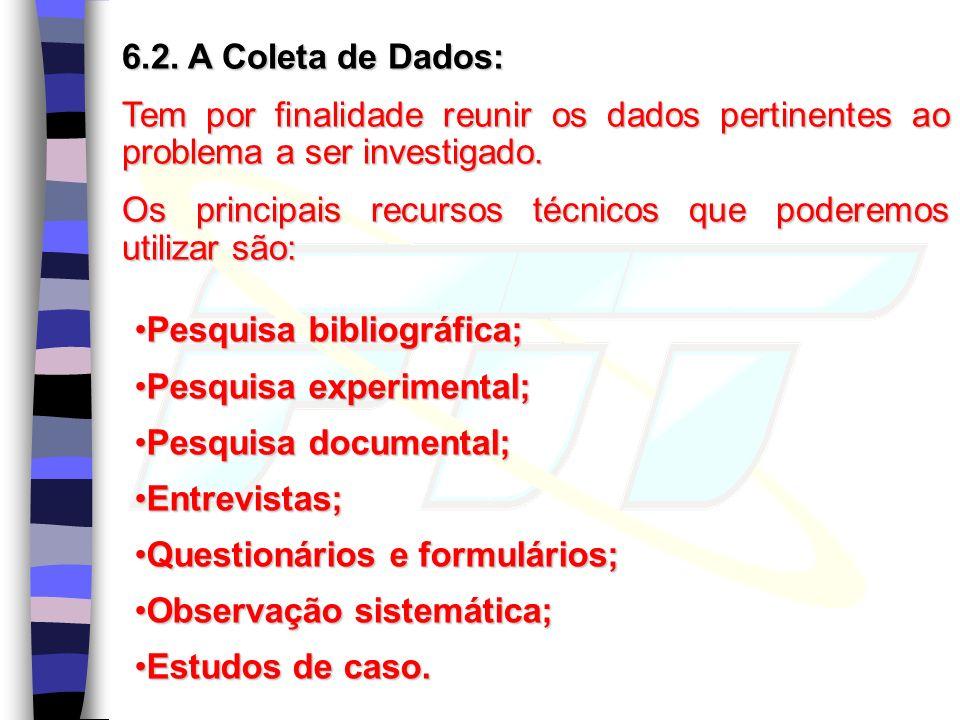 6.2. A Coleta de Dados: Tem por finalidade reunir os dados pertinentes ao problema a ser investigado. Os principais recursos técnicos que poderemos ut