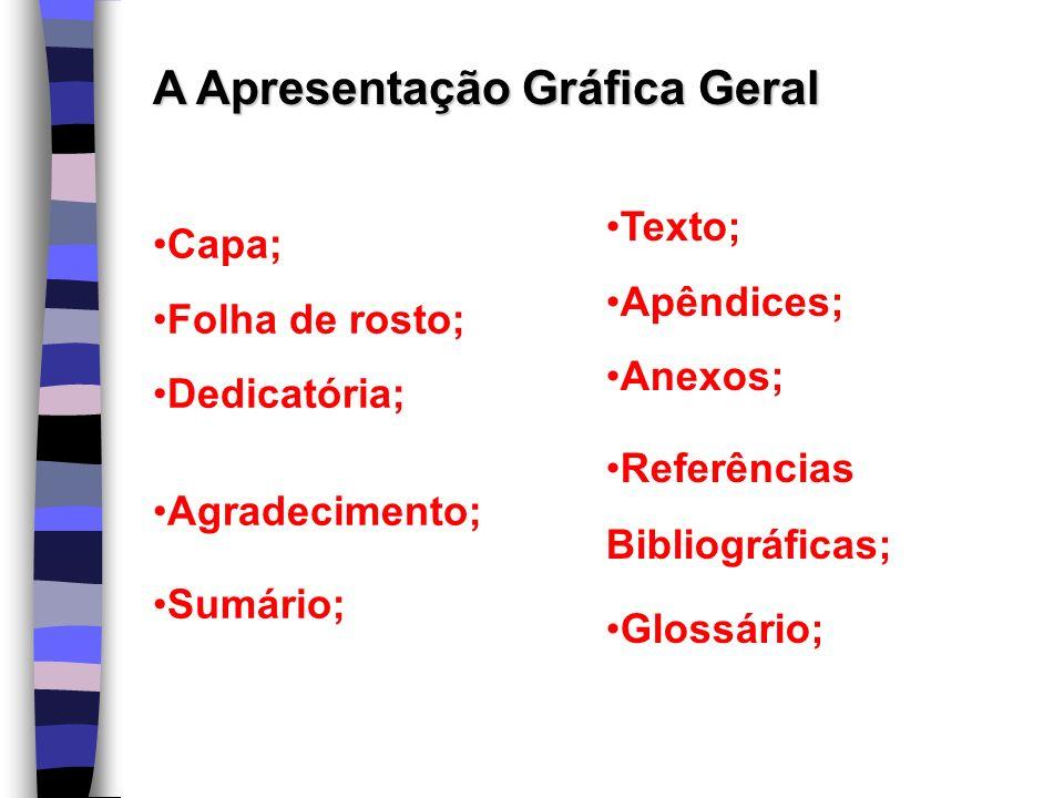 A Apresentação Gráfica Geral Capa; Folha de rosto; Dedicatória; Agradecimento; Sumário; Texto; Apêndices; Anexos; Referências Bibliográficas; Glossári