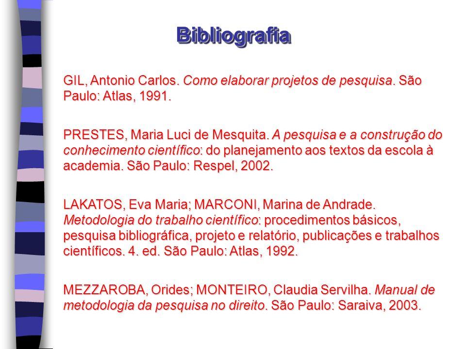 GIL, Antonio Carlos. Como elaborar projetos de pesquisa. São Paulo: Atlas, 1991. PRESTES, Maria Luci de Mesquita. A pesquisa e a construção do conheci