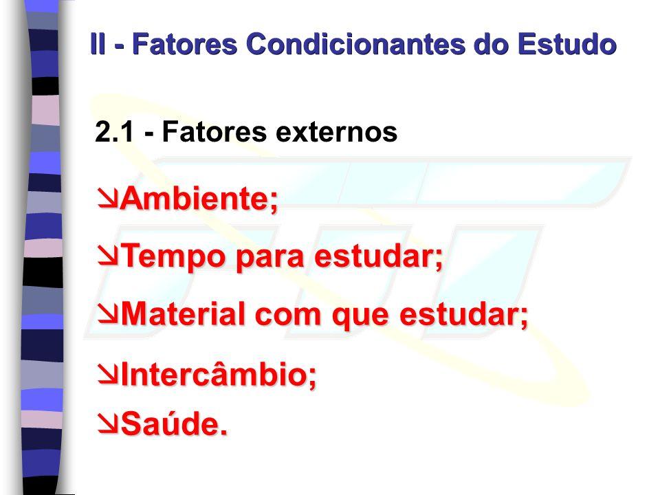 2.1 - Fatores externos II - Fatores Condicionantes do Estudo Ambiente; Ambiente; Tempo para estudar; Tempo para estudar; Material com que estudar; Material com que estudar; Intercâmbio; Intercâmbio; Saúde.