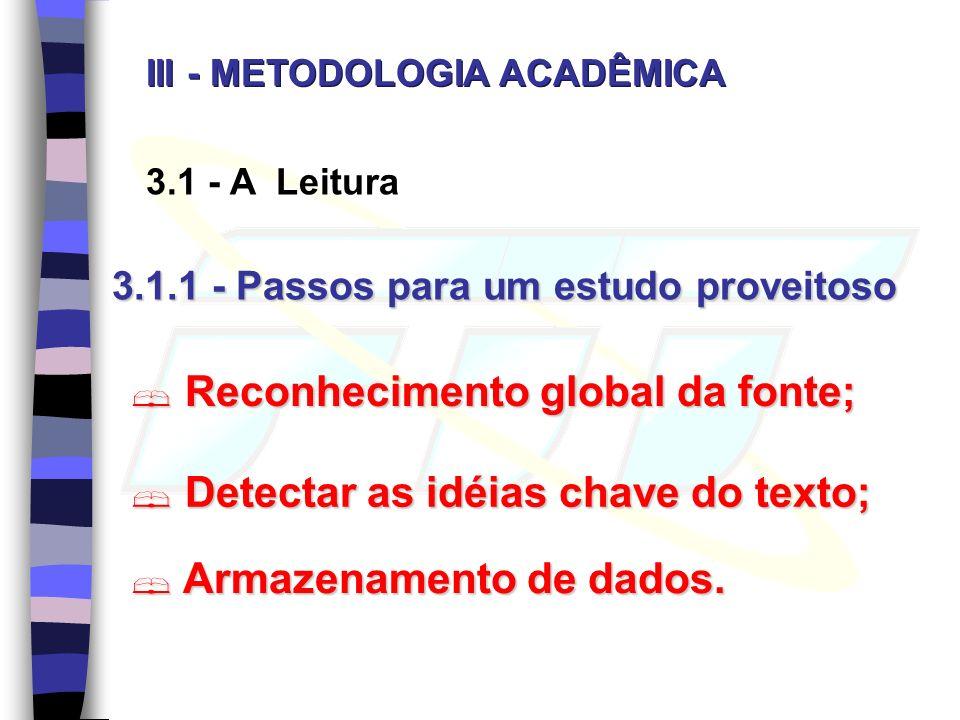 3.1 - A Leitura 3.1.1 - Passos para um estudo proveitoso Reconhecimento global da fonte; Reconhecimento global da fonte; Detectar as idéias chave do texto; Detectar as idéias chave do texto; Armazenamento de dados.