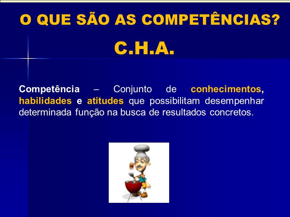 C.H.A. O QUE SÃO AS COMPETÊNCIAS? Competência – Conjunto de conhecimentos, habilidades e atitudes que possibilitam desempenhar determinada função na b