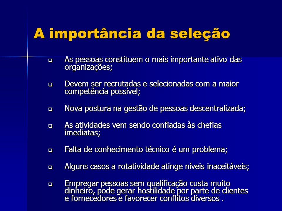 A importância da seleção As pessoas constituem o mais importante ativo das organizações; As pessoas constituem o mais importante ativo das organizaçõe