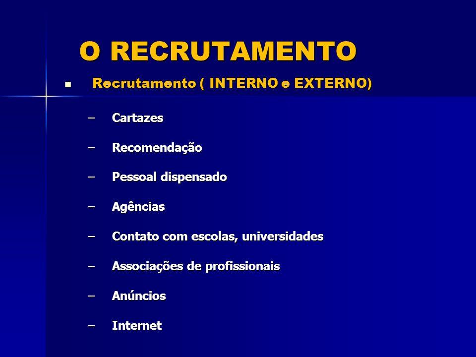 O RECRUTAMENTO Recrutamento ( INTERNO e EXTERNO) Recrutamento ( INTERNO e EXTERNO) –Cartazes –Recomendação –Pessoal dispensado –Agências –Contato com