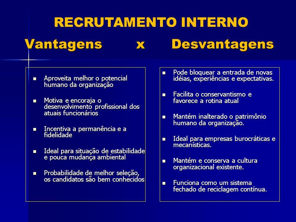 Vantagens x Desvantagens Aproveita melhor o potencial humano da organização Aproveita melhor o potencial humano da organização Motiva e encoraja o des