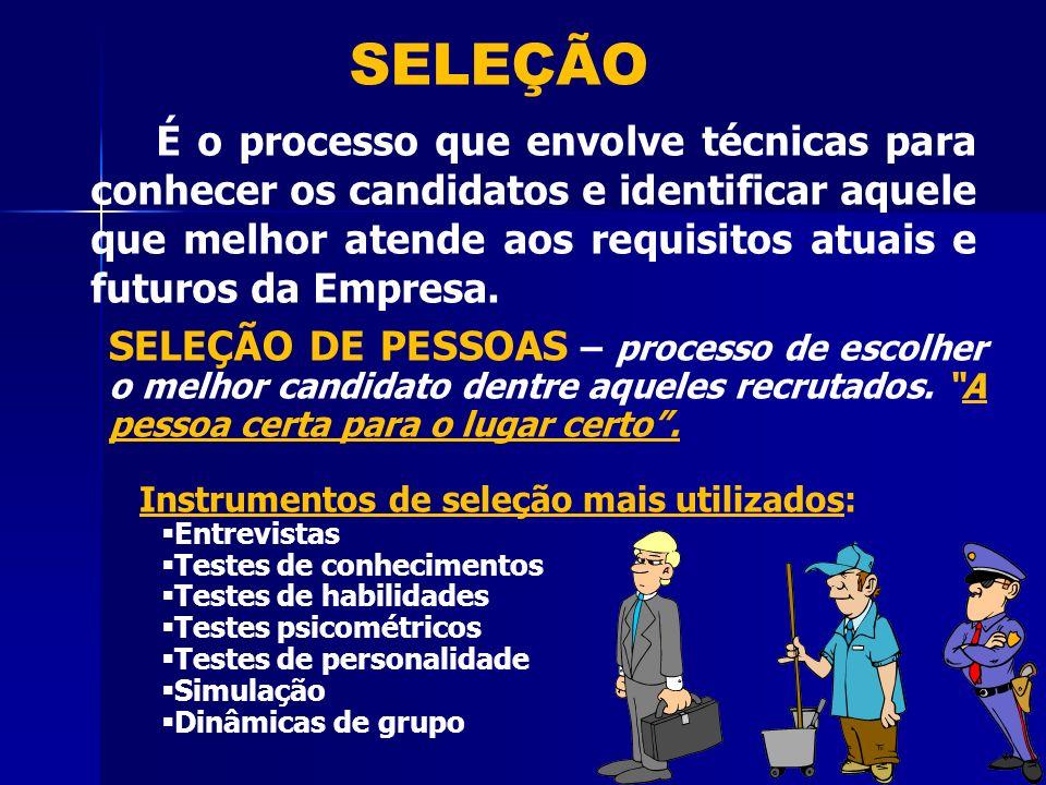SELEÇÃO É o processo que envolve técnicas para conhecer os candidatos e identificar aquele que melhor atende aos requisitos atuais e futuros da Empresa.