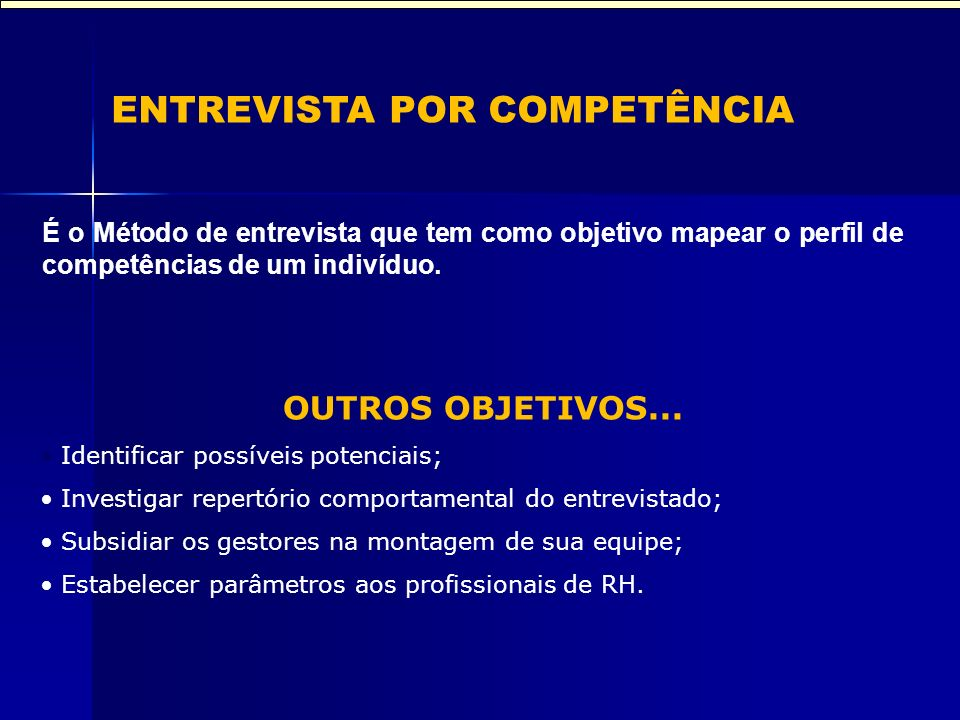 ENTREVISTA POR COMPETÊNCIA É o Método de entrevista que tem como objetivo mapear o perfil de competências de um indivíduo. OUTROS OBJETIVOS... Identif