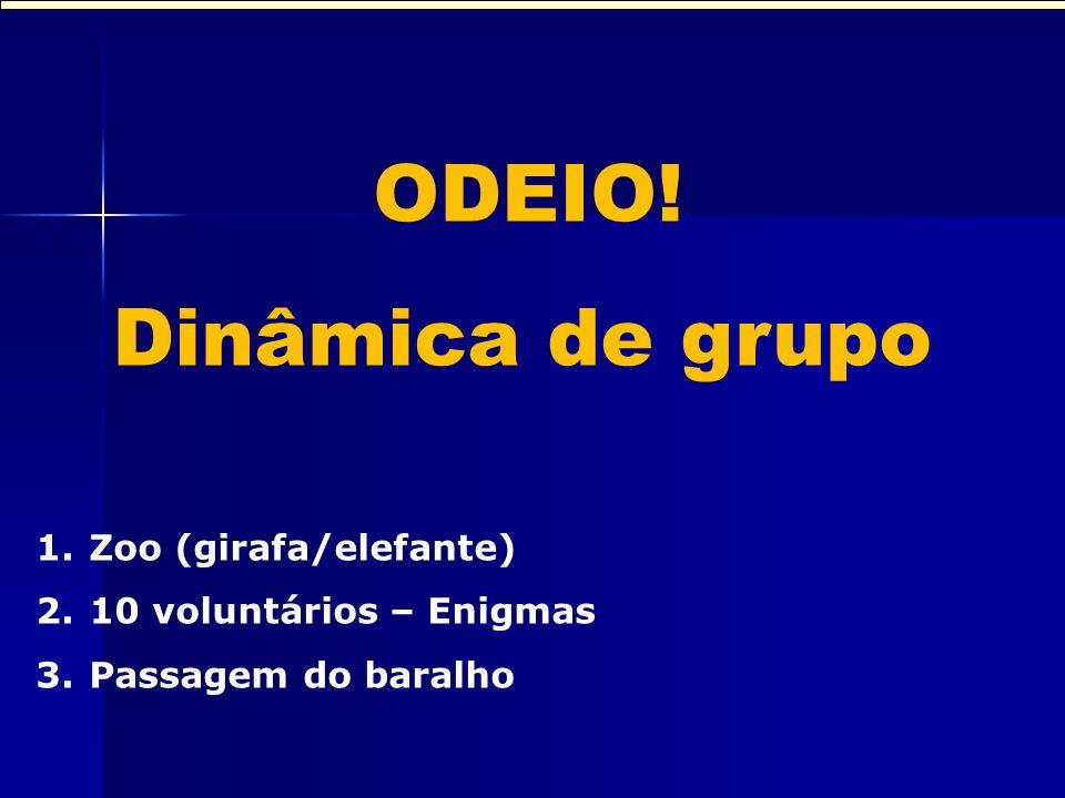 Dinâmica de grupo ODEIO! Dinâmica de grupo 1.Zoo (girafa/elefante) 2.10 voluntários – Enigmas 3.Passagem do baralho