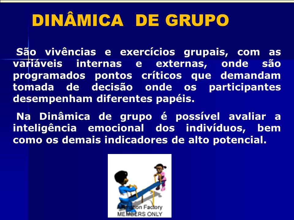 DINÂMICA DE GRUPO São vivências e exercícios grupais, com as variáveis internas e externas, onde são programados pontos críticos que demandam tomada de decisão onde os participantes desempenham diferentes papéis.