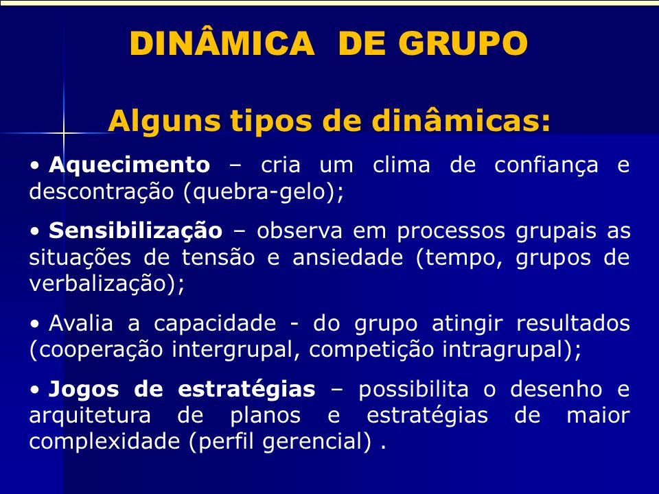 DINÂMICA DE GRUPO Alguns tipos de dinâmicas: Aquecimento – cria um clima de confiança e descontração (quebra-gelo); Sensibilização – observa em proces