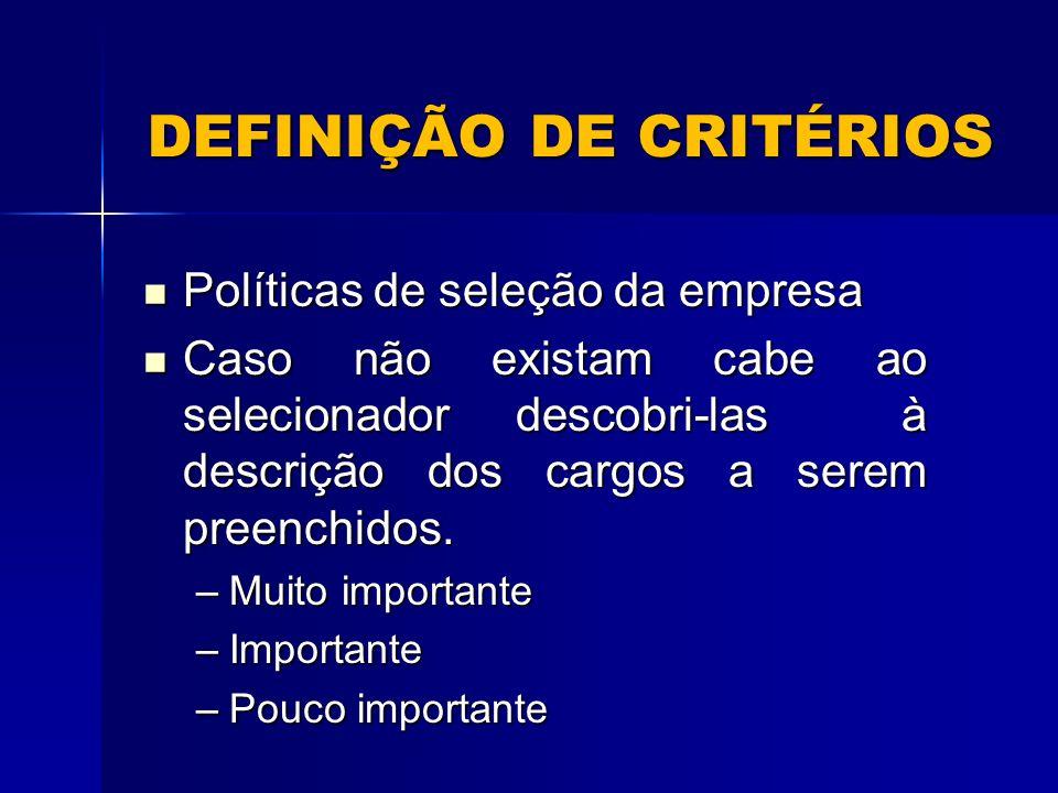 DEFINIÇÃO DE CRITÉRIOS Políticas de seleção da empresa Políticas de seleção da empresa Caso não existam cabe ao selecionador descobri-las à descrição dos cargos a serem preenchidos.