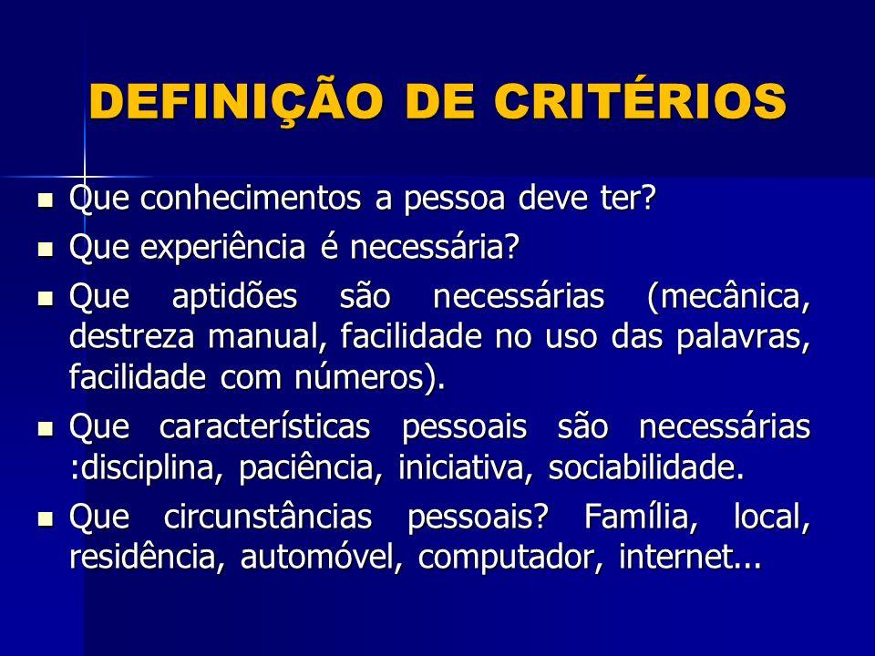 DEFINIÇÃO DE CRITÉRIOS Que conhecimentos a pessoa deve ter.