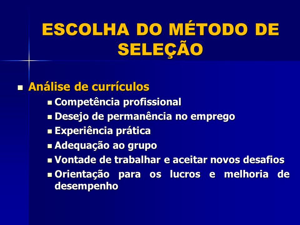 ESCOLHA DO MÉTODO DE SELEÇÃO Análise de currículos Análise de currículos Competência profissional Competência profissional Desejo de permanência no em