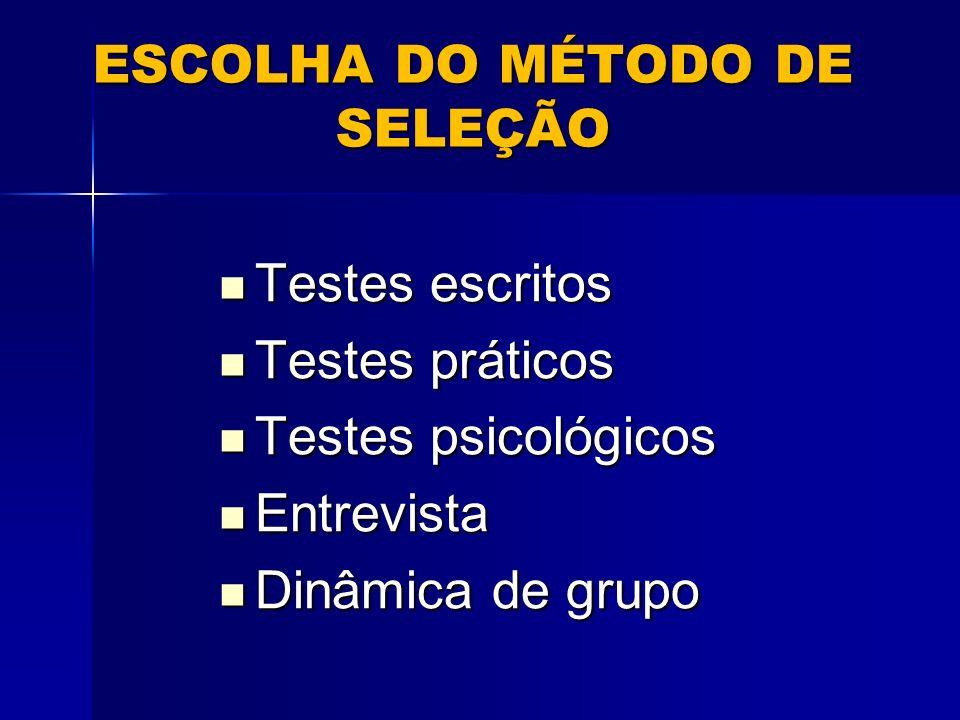 ESCOLHA DO MÉTODO DE SELEÇÃO Testes escritos Testes escritos Testes práticos Testes práticos Testes psicológicos Testes psicológicos Entrevista Entrevista Dinâmica de grupo Dinâmica de grupo