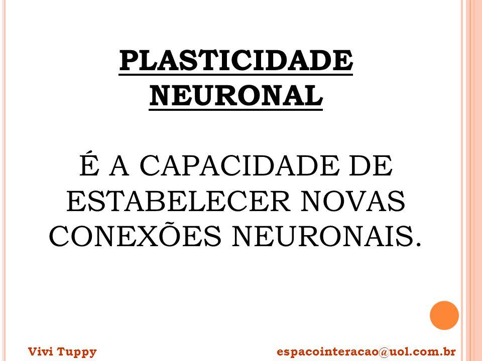PLASTICIDADE NEURONAL É A CAPACIDADE DE ESTABELECER NOVAS CONEXÕES NEURONAIS. Vivi Tuppy espacointeracao@uol.com.br