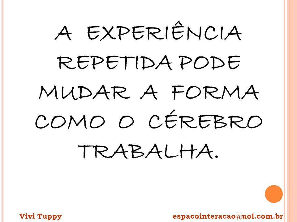 A EXPERIÊNCIA REPETIDA PODE MUDAR A FORMA COMO O CÉREBRO TRABALHA. Vivi Tuppy espacointeracao@uol.com.br