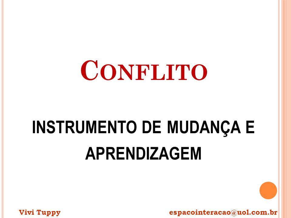 C ONFLITO INSTRUMENTO DE MUDANÇA E APRENDIZAGEM Vivi Tuppy espacointeracao@uol.com.br