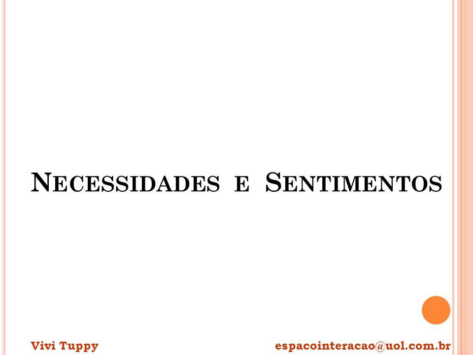 N ECESSIDADES E S ENTIMENTOS Vivi Tuppy espacointeracao@uol.com.br