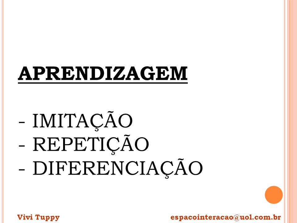 APRENDIZAGEM - IMITAÇÃO - REPETIÇÃO - DIFERENCIAÇÃO Vivi Tuppy espacointeracao@uol.com.br