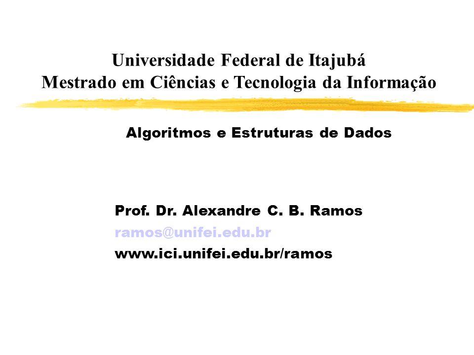 Universidade Federal de Itajubá Mestrado em Ciências e Tecnologia da Informação Prof. Dr. Alexandre C. B. Ramos ramos@unifei.edu.br www.ici.unifei.edu