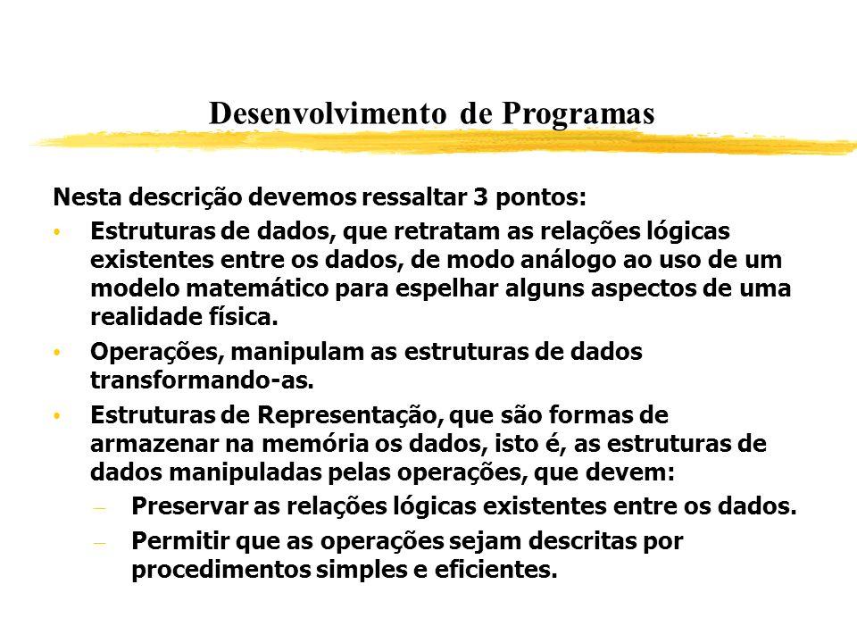 Desenvolvimento de Programas Nesta descrição devemos ressaltar 3 pontos: Estruturas de dados, que retratam as relações lógicas existentes entre os dad