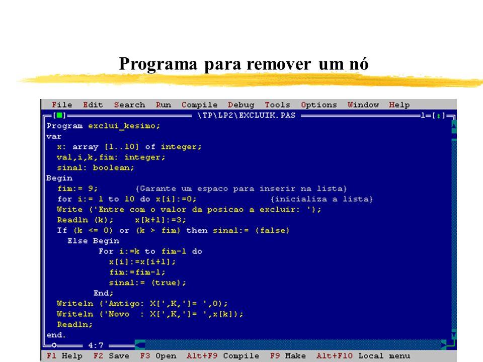 Programa para remover um nó